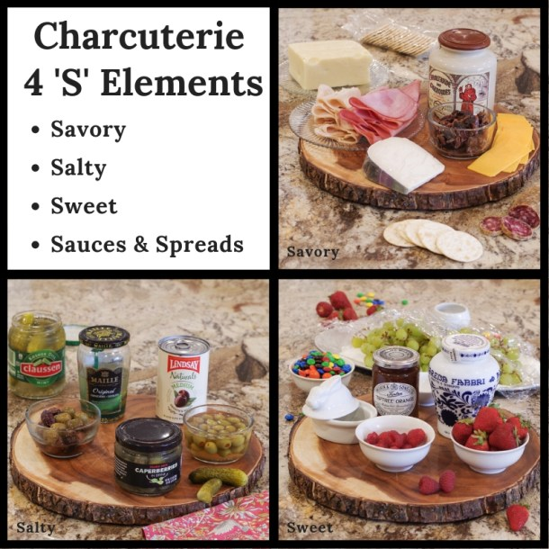 Charcuterie Board 4 'S' Elements - Savory, Salty, Sweet & Spreads 3 separate pictures of each group
