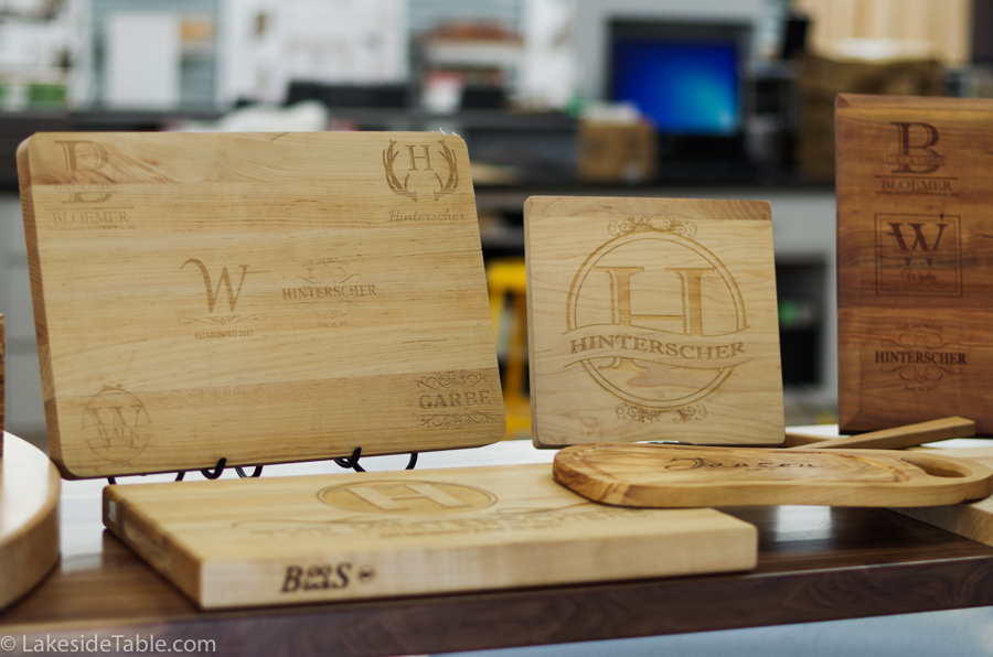 Several boos butcher blocks with engraving samples