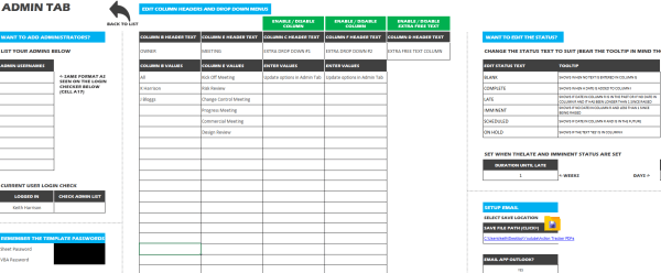 Excel Action Tracker Settings