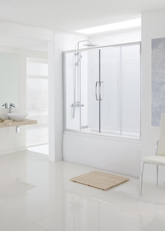 Over Bath Semi Frameless Double Slide Door Bath Screens