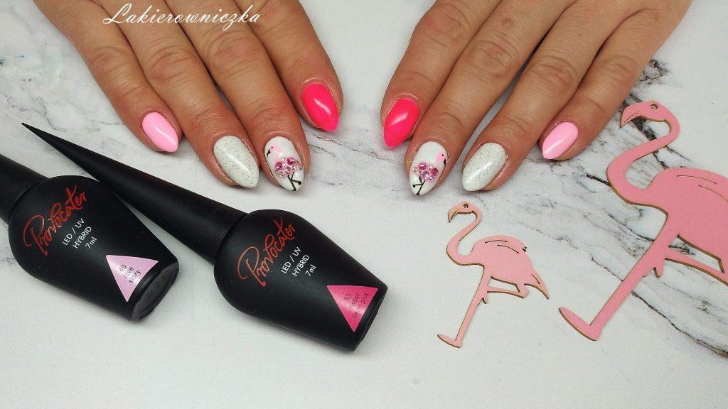 neonowe-paznokcie-hybrydowe-Provocater-Lakierowniczka-flamingi na hybrydzie