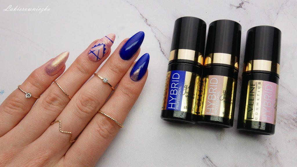 Hybrydy-Eveline-lakiery-hybrydowe-kosmetyki-Lakierowniczka-tusz-cien-blyszczyk-szminka-pomadka-brwi-remover-roz-maniciure-azteckie-wzory-kobaltowy-lakier-koralowy