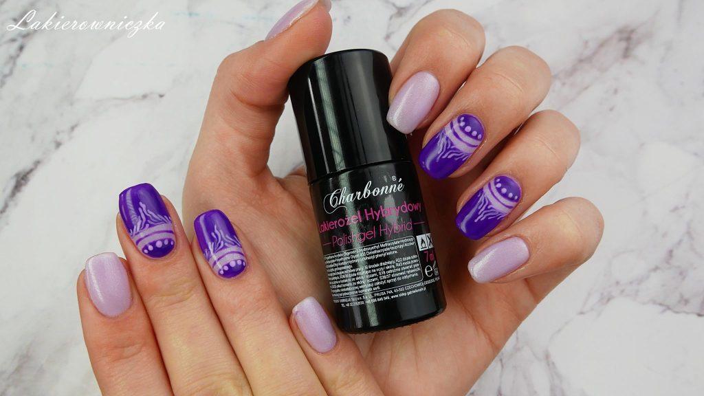 Ultra-fiolet-hybrydy-Charbonne-fioletowe-paznokcie-hybrydowe-123-energiczny-fiolet-110-wiosenny-128-chevrolet-havanna-purple-hybrid-nails-Lakierowniczka