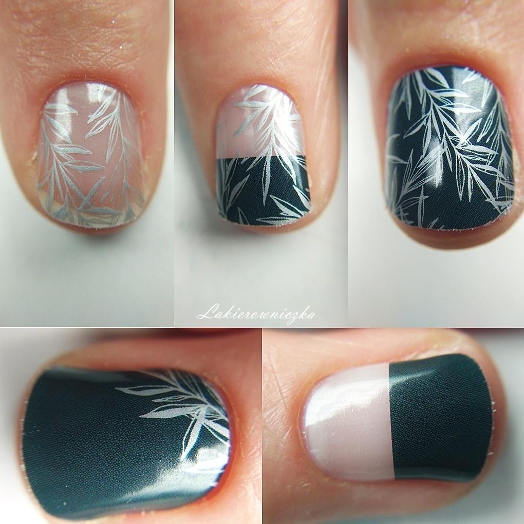 Manirouge-Silver-leaves-Lakierowniczka-moje-naklejki-termiczne-projektu-blogerek-from-bloggers-with-love-stickers-thermal-butelkowa-zielen-alternatywa-dla-hybrydy-srebrny-wzor-liscie-negative-space-Manirouge Silver leaves