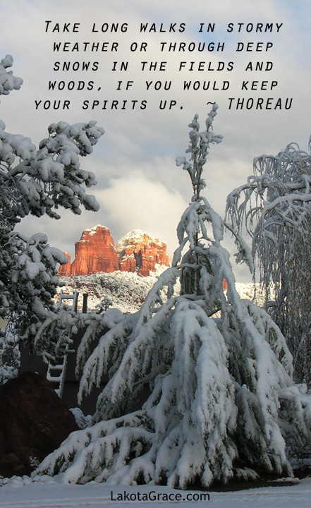 Sunrise on a snowy Sedona morning