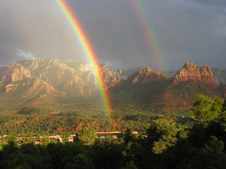 Picture of double rainbow over Sedona, AZ