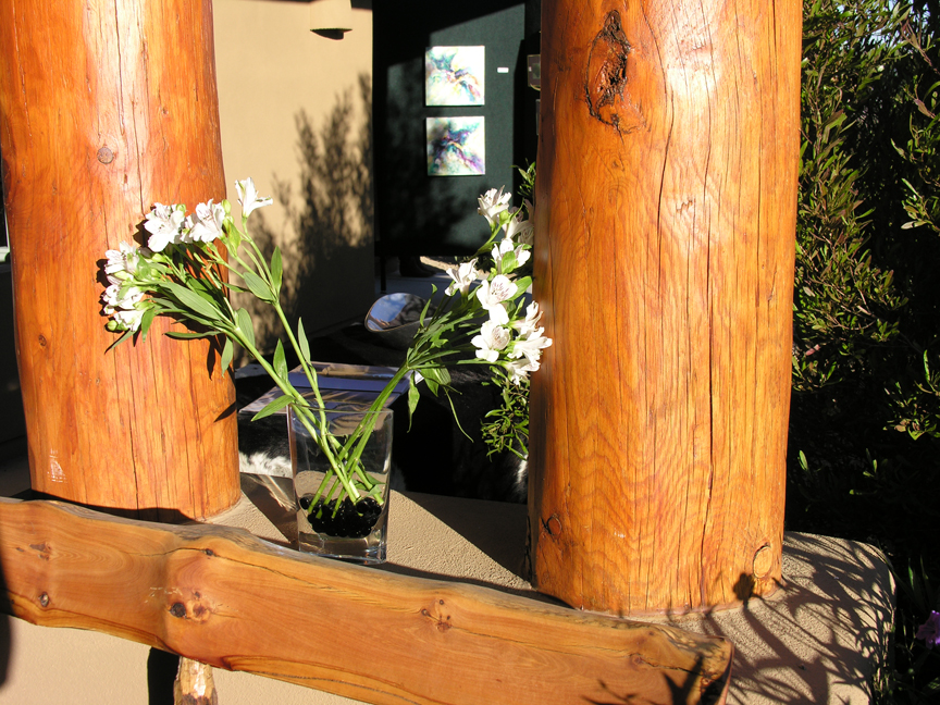 Flowers holding up posts