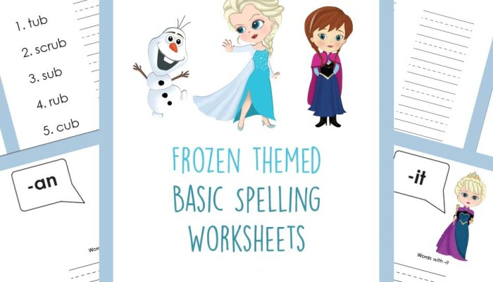 Free Frozen Themed Spelling Printables