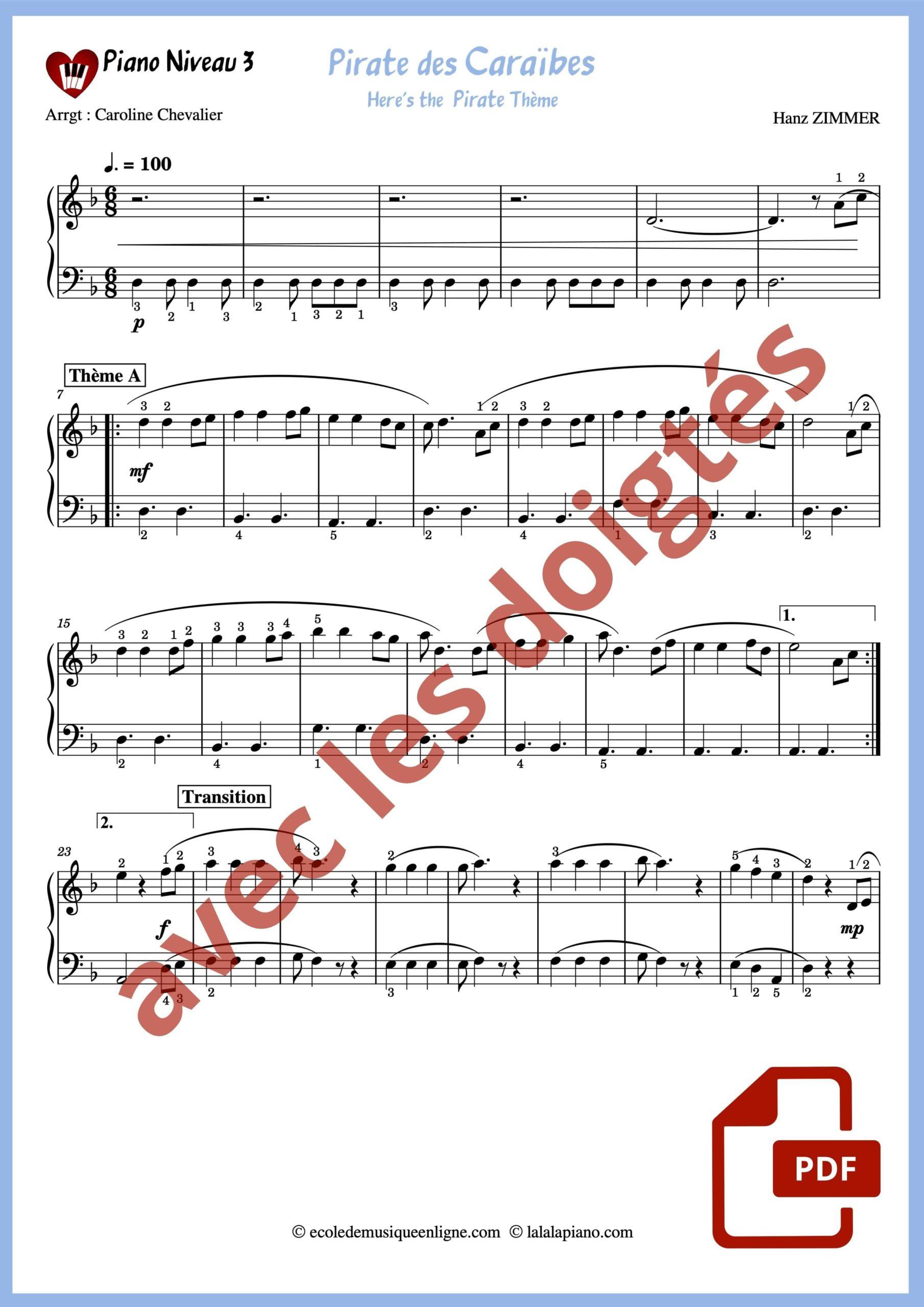 Partition Pirate des Caraibes piano avec doigtés niveau 3