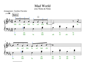 Partition Piano de Mad World