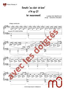 partition pour piano sonate au clair de lune intermédiaire musescore