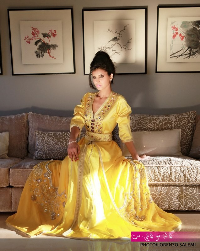 القفطان-المغربي-للمناسبات-و-الاعراس-باللون-الاصفر-والذهبي