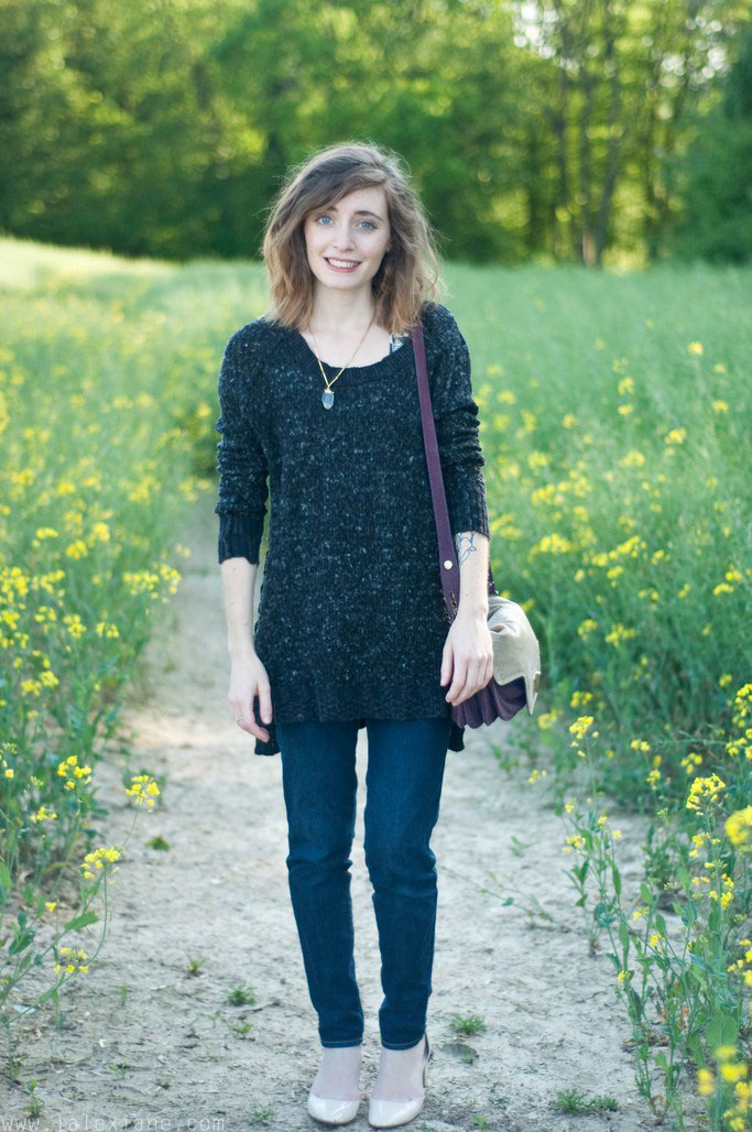 Look pull gris Free People - Alexiane blog mode