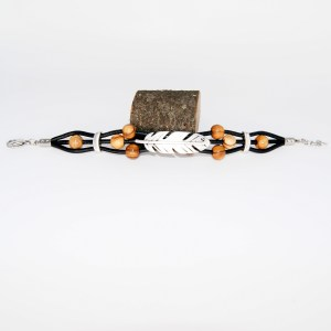 Bracelet Cuir «Grande Plume» Argent plaqué – Mixte