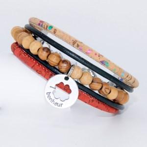 Bracelet manchette Liège cuir, Bonheur – Mixte