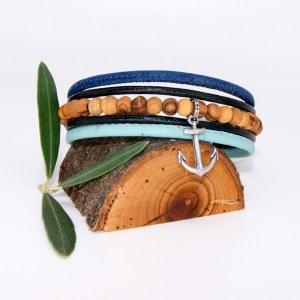 Bracelet manchette Liège cuir, Marine – Mixte