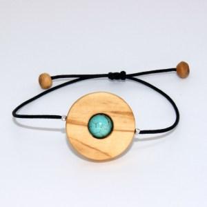 Bracelet Disque solaire – Olivier et Turquoise
