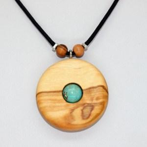 Collier Disque solaire – Olivier et Turquoise – Mixte