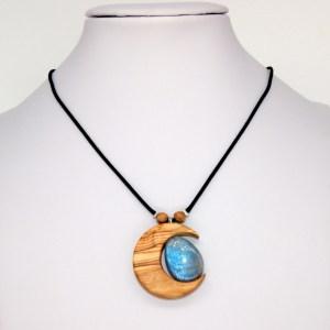 Collier Divine Lune – Olivier et Labradorite – Mixte