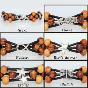 Bracelet cuir et symbole Argent plaqué – Mixte