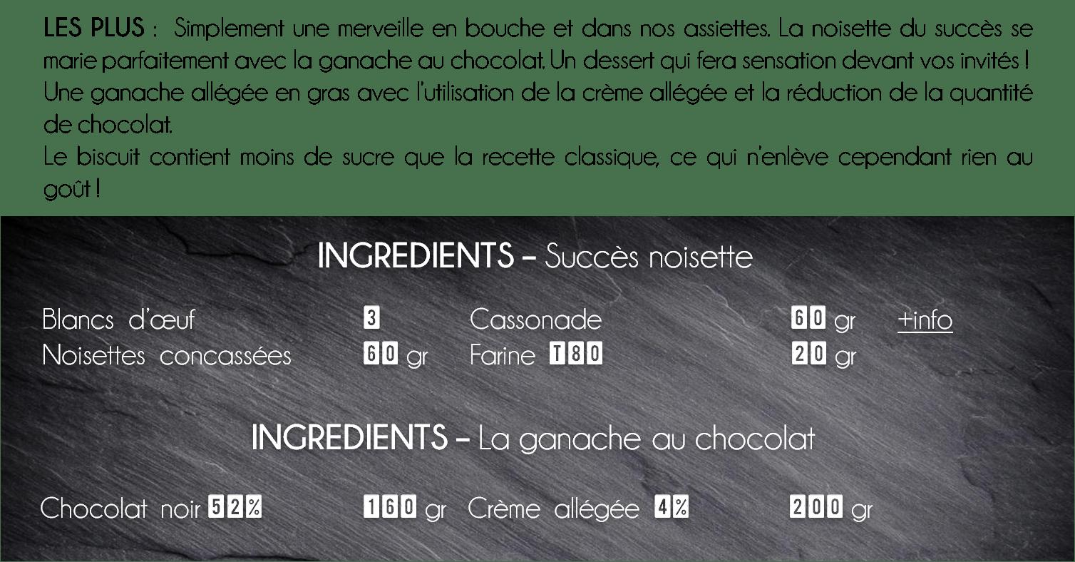 ingredients succes noisette chocolat