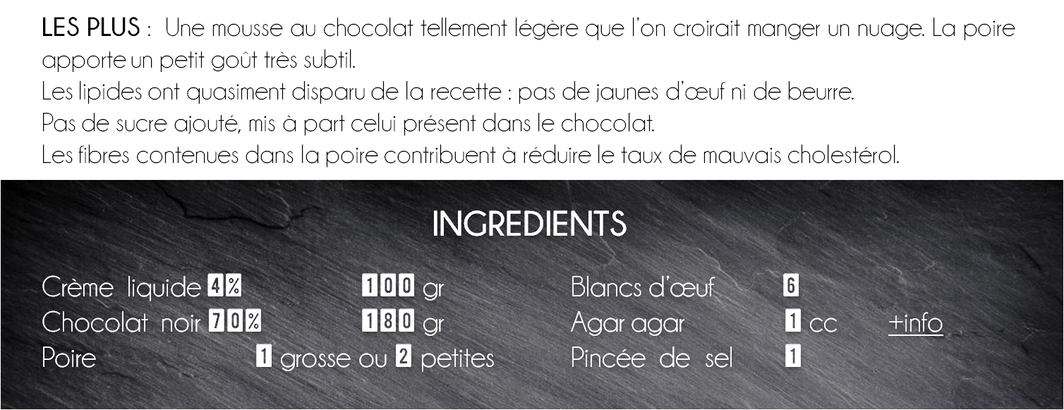 ingredient mousse chocolat poire