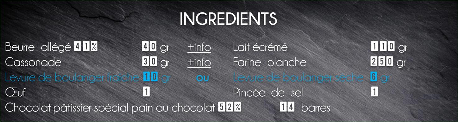 ingrédients brioche pain au chocolat