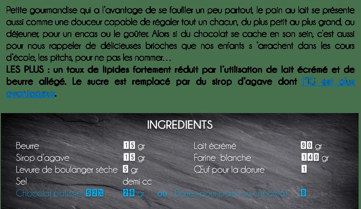 ingrédients pain au lait chocolat