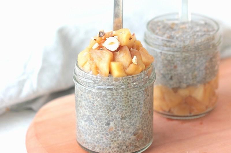 Chia pudding sans sucre pomme cannelle