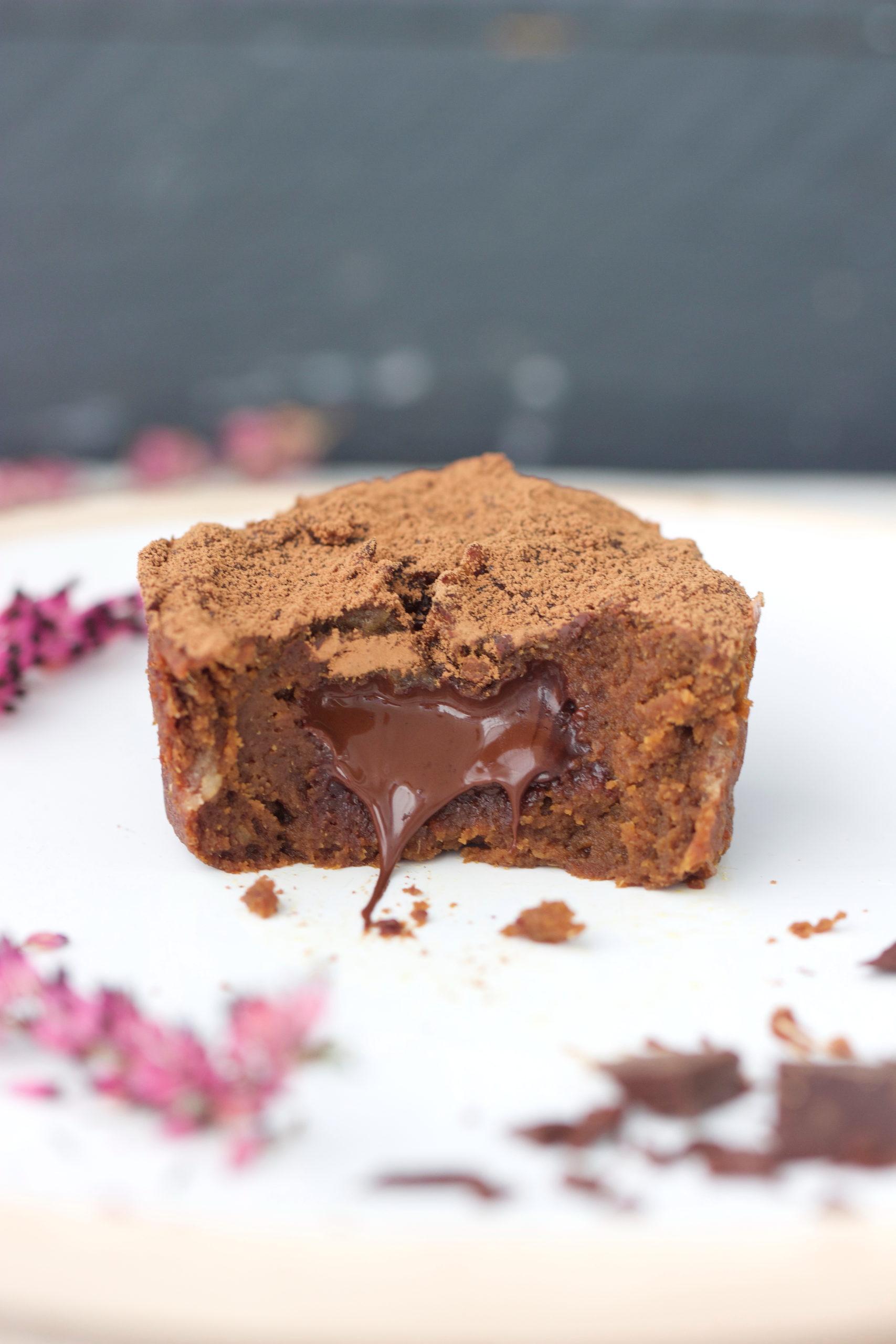 Fondant coulant léger au chocolat (sans gluten, sans sucre)