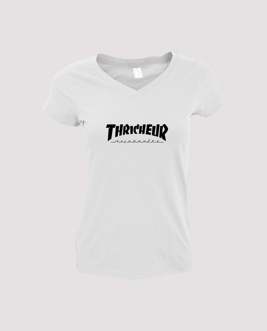 la-ligne-shop-t-shirt-blanc-femme-detournement-de-logo-thrasher-magasine-thricheur-malhonnete