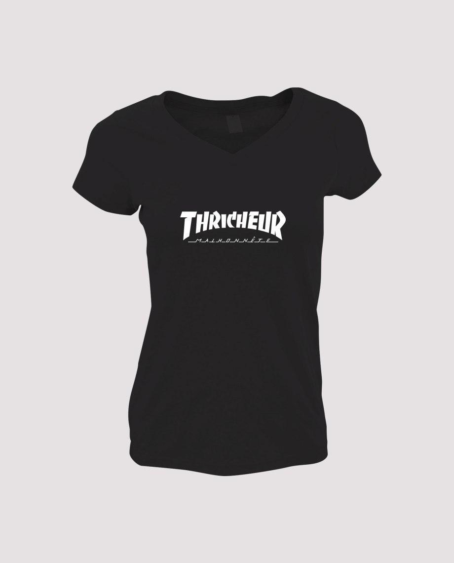 la-ligne-shop-t-shirt-noir-femme-detournement-de-logo-thrasher-magasine-thricheur-malhonnete