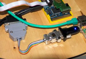 USB-to-Serial adapter with self-made 9-to-25 pin adapter