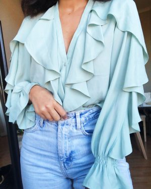 Pastel green Zara blouse