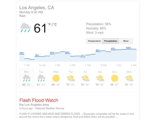 Los Angeles Rain - Flash Flood Warning