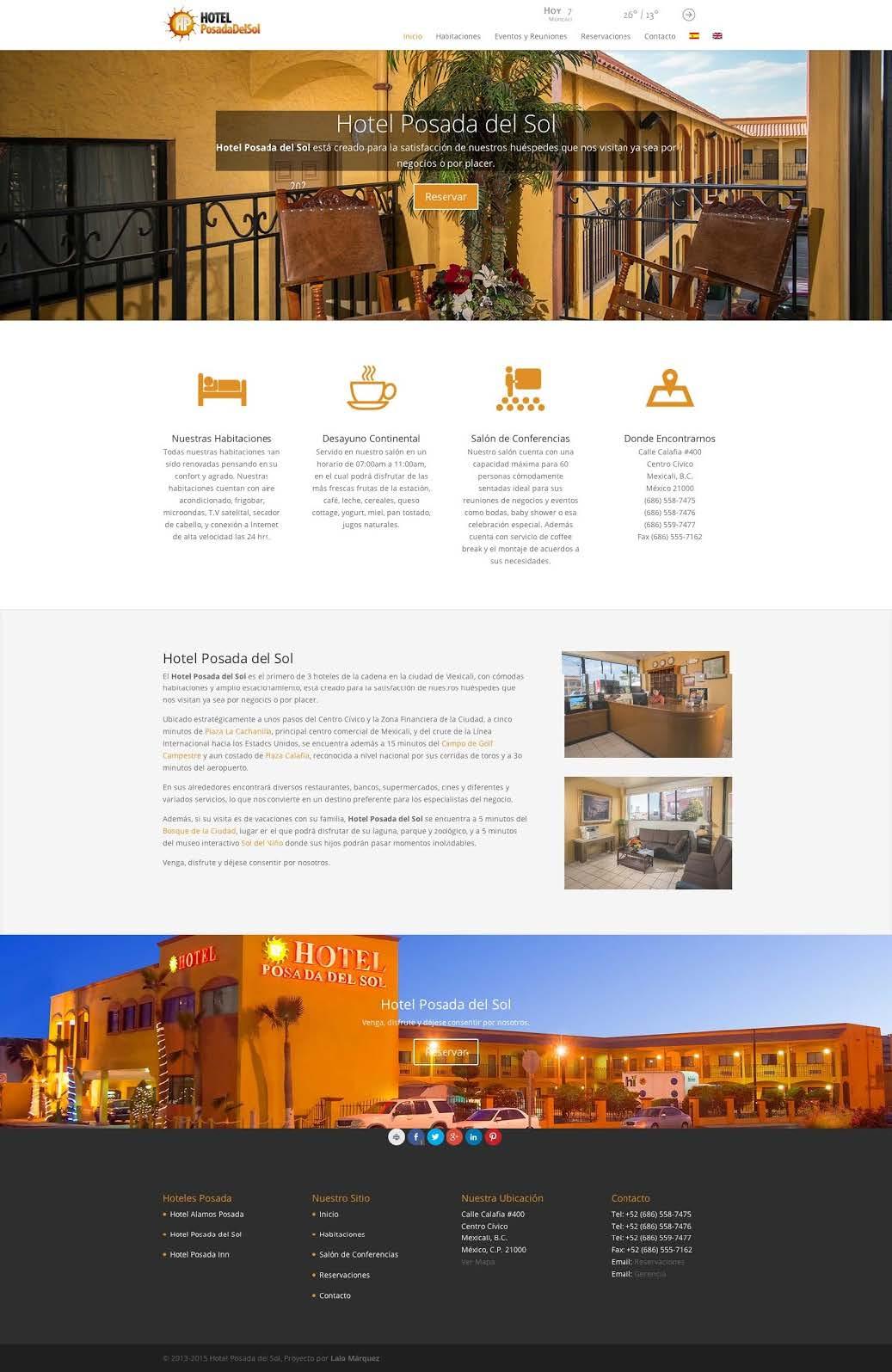 Desarrollo Web del Hotel Posada del Sol por Lalo Marquez