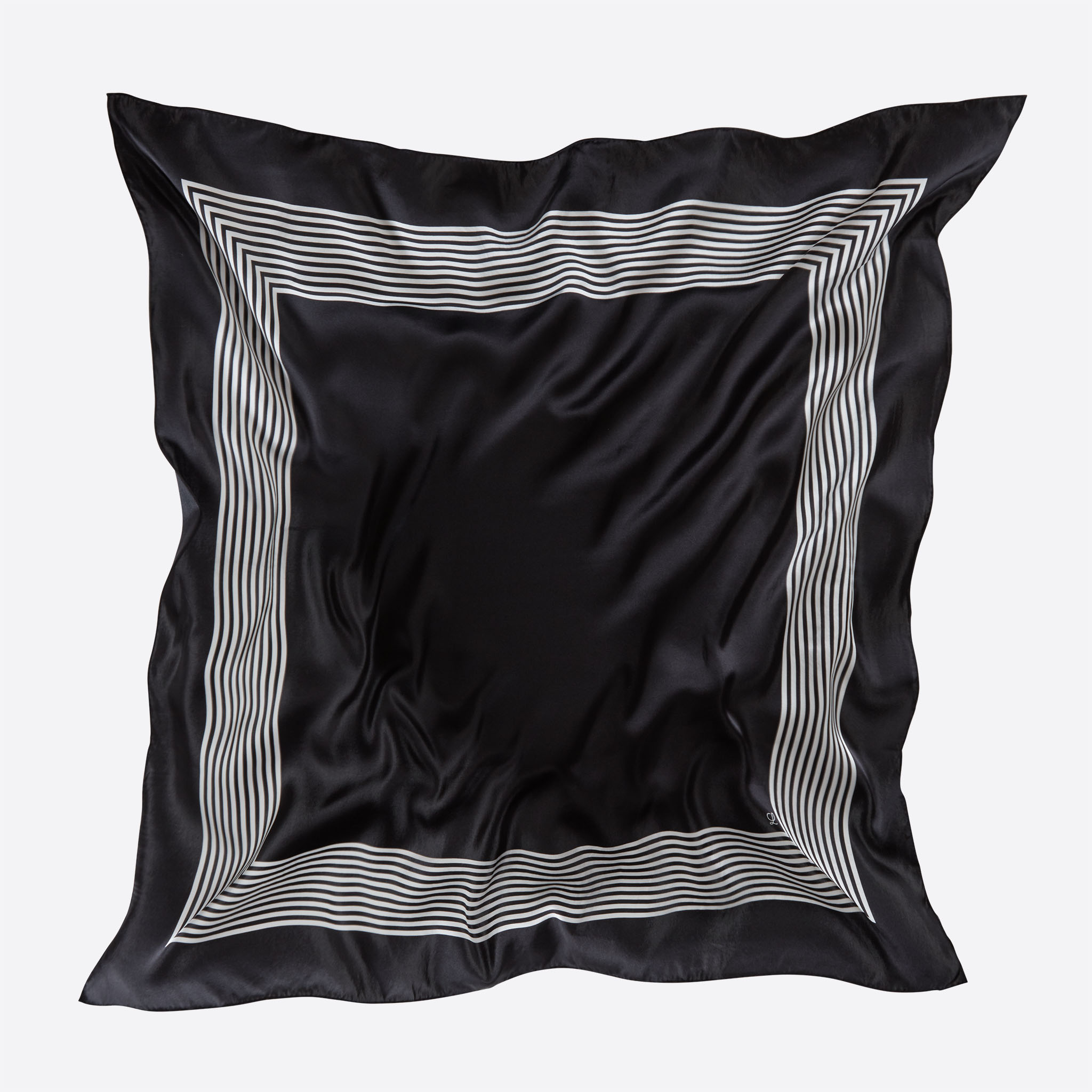 Lalouette black striped square silk scarf flying