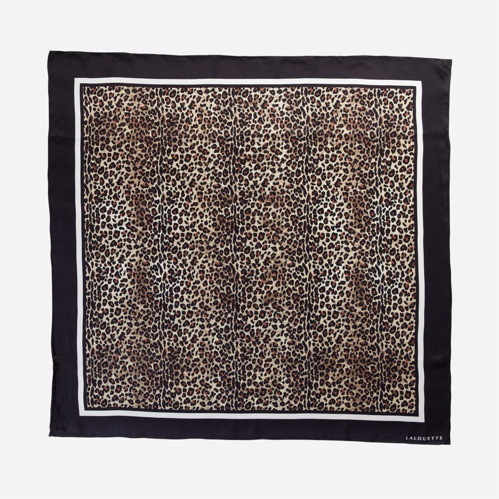 Lalouette leopard silk scarf flat-lay