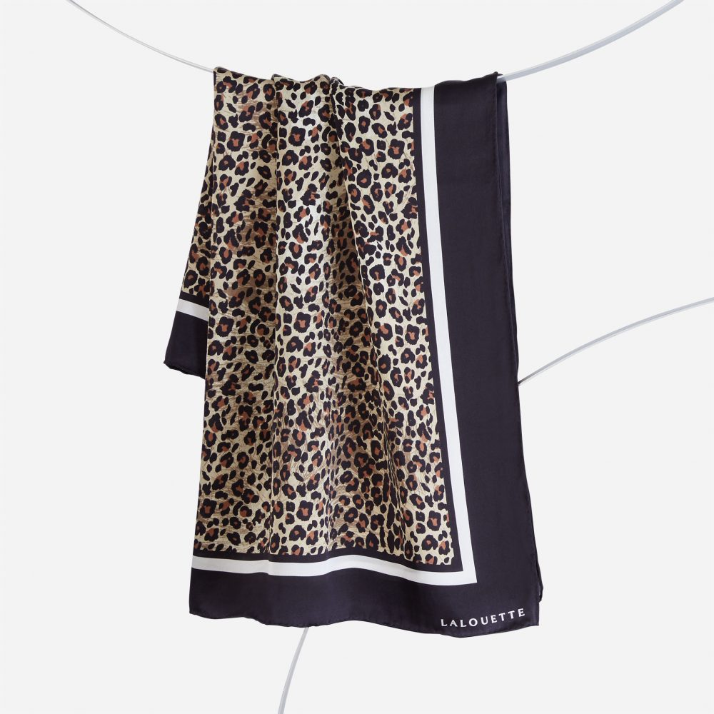 Lalouette leopard silk scarf hanging