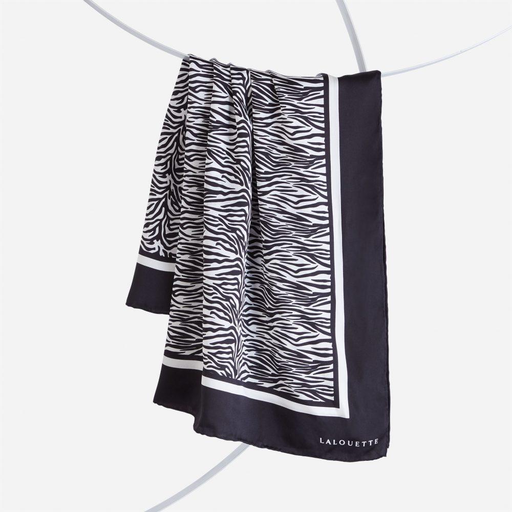 Lalouette zebra silk scarf hanging