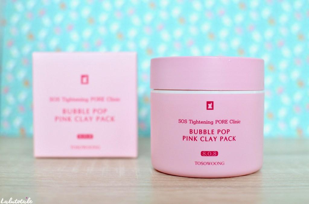 Tosowoong masque argile rose bubble pop puink clay SOS