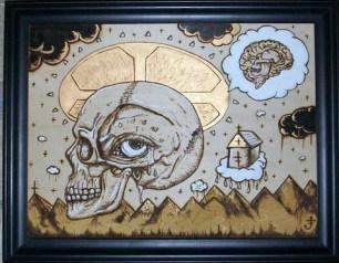 """12"""" x 16"""" unframed 15"""" x 19"""" framed Gold Leaf & Acrylic on wood"""
