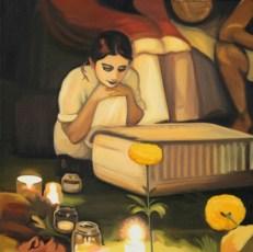 "19.5"" x 19.5"" Oil on canvas"