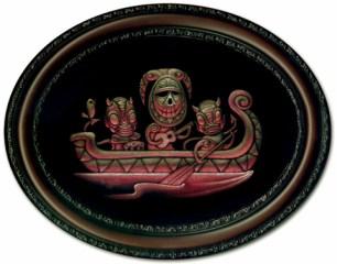 """14"""" x 17"""" oval, framed Acrylic on black velvet SOLD"""