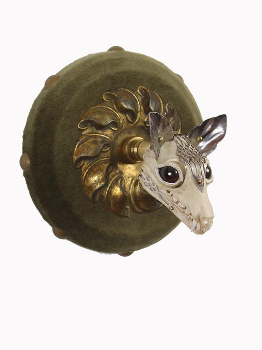"Antique jewelry findings, brass, silver, bone, velvet, glove leather, glass eyes 4"" x 4"" x 4"" $2,500.00"
