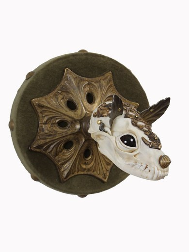 "Antique jewelry findings, brass, bone, velvet, glove leather, glass eyes. 5"" x 5"" x 5"" $2,800.00"
