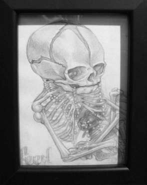 "Graphite on paper 3.5"" x 5"" in 7.5"" x 9.5"" frame $180.00 Sold"
