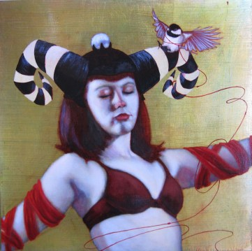 """Oil on gold-leafed panel 16"""" x 16"""" $1,780.00"""