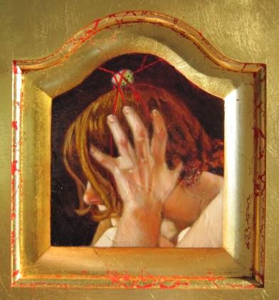 """Oil on gold-leafed panel, framed 6"""" x 6.5"""" $700.00"""