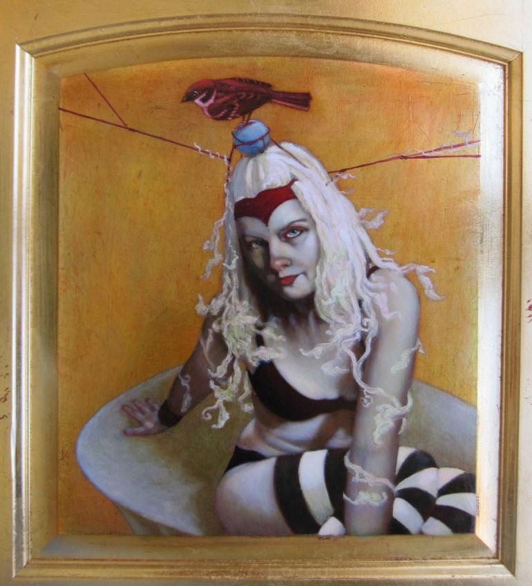 """Oil on gold leafed panel, framed 13.75"""" x 14.75"""" $1,640.00"""